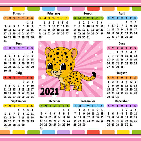 Calendar for 2021 with a cute character. Spotted jaguar. Fun and bright design. Isolated color vector illustration. Cartoon style. Ilustração