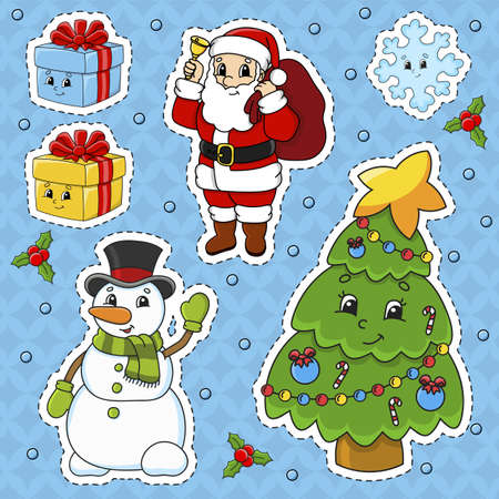 Set of stickers with cute cartoon characters. Christmas theme. Hand drawn. Colorful pack. Vector illustration. Patch badges collection. Label design elements. For daily planner, diary, organizer. Ilustração