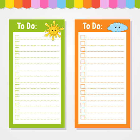 To do list for kids. Empty template. Sun and cloud. The rectangular shape. Isolated color vector illustration. Funny character. Cartoon style. For the diary, notebook, bookmark. Ilustração