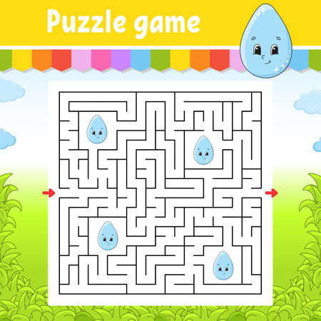 Square maze. Game for kids. Cute drop. Puzzle for children. Labyrinth conundrum. Color vector illustration. Find the right path. Isolated vector illustration. Cartoon character.