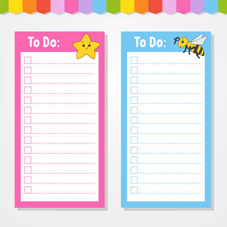 To do list for kids. Empty template. Star and bee. The rectangular shape. Isolated color vector illustration. Funny character. Cartoon style. For the diary, notebook, bookmark. Ilustração