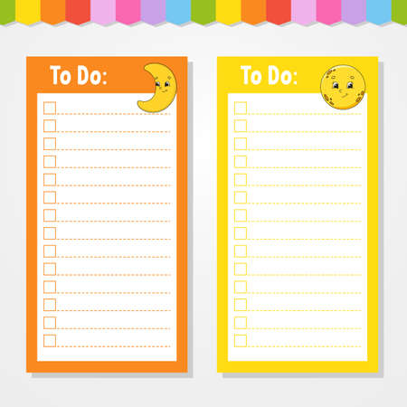 To do list for kids. Empty template. Crescent and moon. The rectangular shape. Isolated color vector illustration. Funny character. Cartoon style. For the diary, notebook, bookmark.