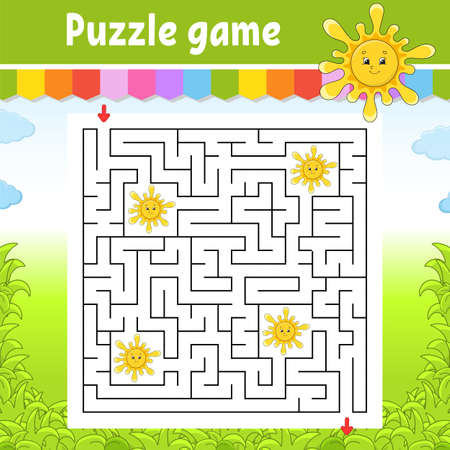 Square maze. Game for kids. Cute sun. Puzzle for children. Labyrinth conundrum. Color vector illustration. Find the right path. Isolated vector illustration. Cartoon character. Ilustração