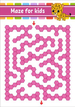Rectangular color maze. Spotted jaguar. Game for kids. Funny labyrinth. Education developing worksheet. Activity page. Puzzle for children. Cartoon character. Logical conundrum. Vector illustration. Ilustração