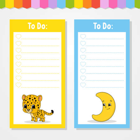 To do list for kids. Empty template. Jaguar and crescent. The rectangular shape. Isolated color vector illustration. Funny character. Cartoon style. For the diary, notebook, bookmark.