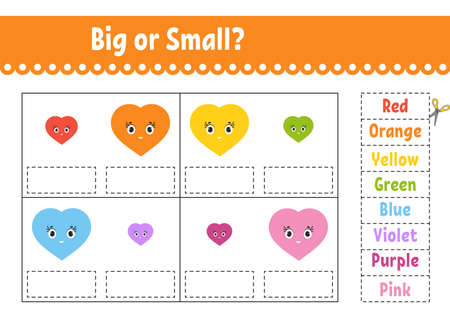 Find the correct answer. Cut and glue. Education developing worksheet. Activity page. Big or small. Isolated vector illustration. Cartoon character.