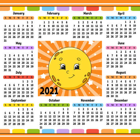 Calendar for 2021 with a cute character. Cute moon. Fun and bright design. Isolated color vector illustration. Cartoon style. Ilustração