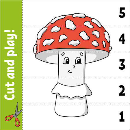 Learning numbers 1-5. Cut and play. Education worksheet. Game for kids. Color activity page. Puzzle for children. Riddle for preschool. Vector illustration. Cartoon style. Autumn theme. Ilustração