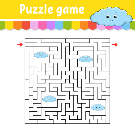 Square maze. Game for kids. Funny cloud. Puzzle for children. Labyrinth conundrum. Color vector illustration. Find the right path. Isolated vector illustration. Cartoon character. Ilustração