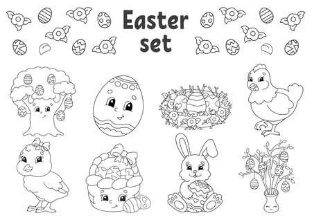 Coloring book for kids. Easter clipart. Cheerful characters. Vector illustration. Cute cartoon style. Black contour silhouette. Isolated on white background. Ilustração
