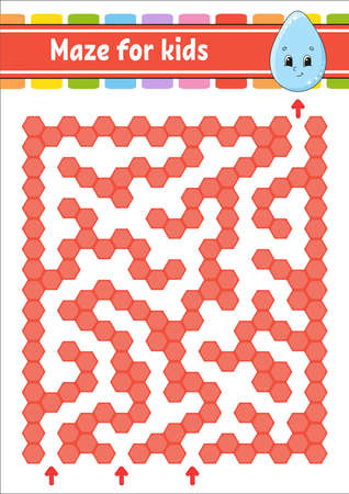 Rectangular color maze. Game for kids. Cute drop. Funny labyrinth. Education developing worksheet. Activity page. Puzzle for children. Cartoon character. Logical conundrum. Vector illustration. Ilustração