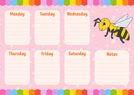 School schedule. Timetable for schoolboys. Striped bee. Empty template. Weekly planer with notes. Isolated color vector illustration. Cartoon character.