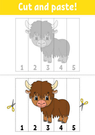Learning numbers 1-5. Cut and glue. Cartoon character. Education developing worksheet. Game for kids. Activity page. Color isolated vector illustration. Ilustração
