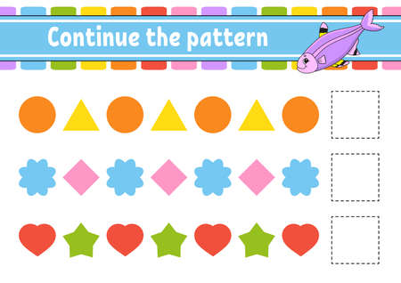 Continue the pattern. Education developing worksheet. Game for kids. Activity page. Puzzle for children. Riddle for preschool. Flat isolated vector illustration. Cute cartoon style. Ilustração