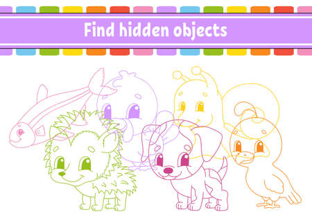 Find hidden object. Education developing worksheet. Activity page with pictures. Color contour. Logical thinking training. Isolated vector illustration. Funny character. Cartoon style. Ilustração
