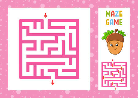 Square maze. Game for kids. Puzzle for children. Happy character. Labyrinth conundrum. Color vector illustration. Find the right path. With answer. Isolated vector illustration. Cartoon style.