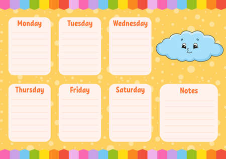 School schedule. Funny cloud. Timetable for schoolboys. Empty template. Weekly planer with notes. Isolated color vector illustration. Cartoon character. Ilustração