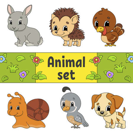 Set of stickers with cute cartoon characters. Animal clipart. Hand drawn. Colorful pack. Vector illustration. Patch badges collection. Label design elements. For daily planner, organizer, diary. Ilustração
