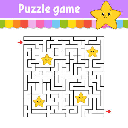 Square maze. Game for kids. Cartoon star. Puzzle for children. Labyrinth conundrum. Color vector illustration. Find the right path. Isolated vector illustration. Cartoon character. Ilustração