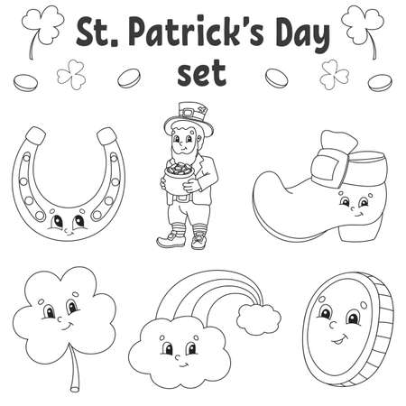 Coloring book for kids. St. Patrick's Day. Cheerful characters. Vector illustration. Cute cartoon style. Black contour silhouette. Isolated on white background.