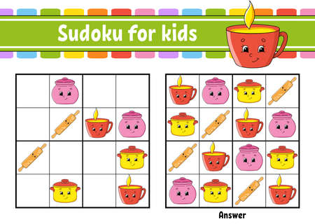 Dishware theme. Sudoku for kids. Education developing worksheet. Cartoon character. Color activity page. Puzzle game for children. Logical thinking training. Isolated vector illustration.