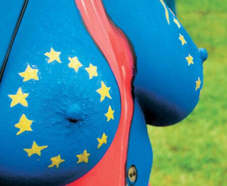 european union flaf body painted