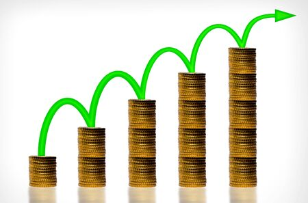 Arrow and money staircase - Money growth concept
