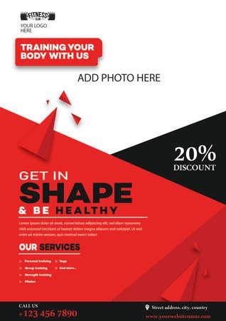 gym training flyer, web banner, social media post template design