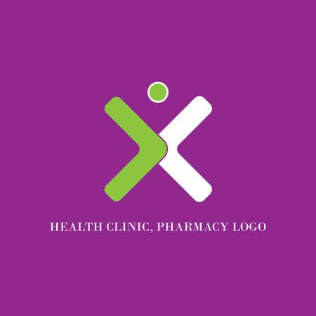 creative and simple health clinic, pharmacy logo design Иллюстрация