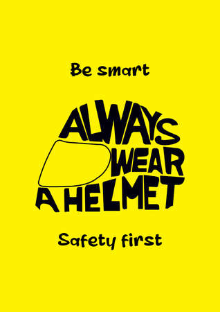 always wear a helmet poster flyer social media post template design