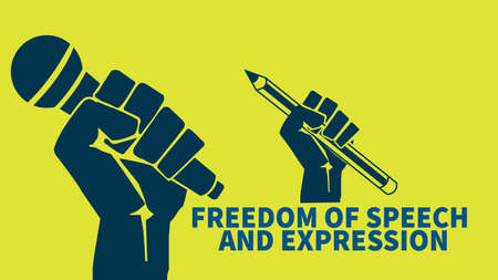freedom of speech and expression web banner social media post or t shirt template design
