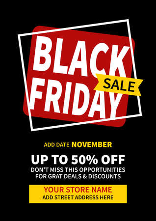 black friday sale discount retail poster flyer template design