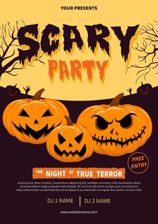 scary party - halloween poster, flyer social media post template design Иллюстрация