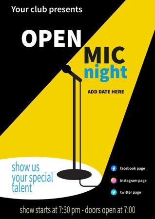 open mic night poster flyer social media post template design