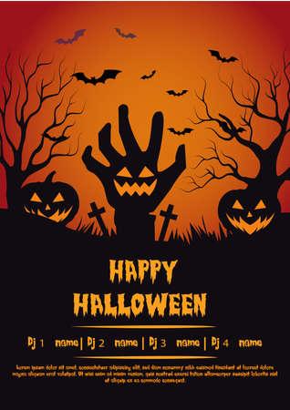 spooky halloween poster flyer social media post party template design Иллюстрация