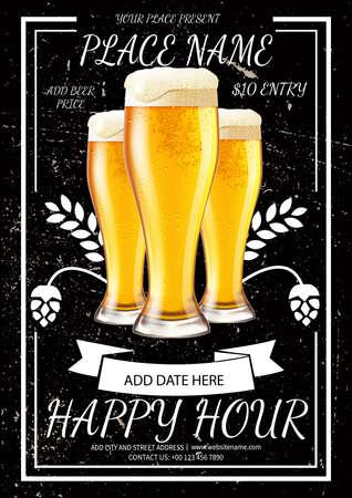 happy hour beer night poster flyer social media post template design Иллюстрация