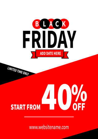 black friday discount poster flyer social media post template design Иллюстрация