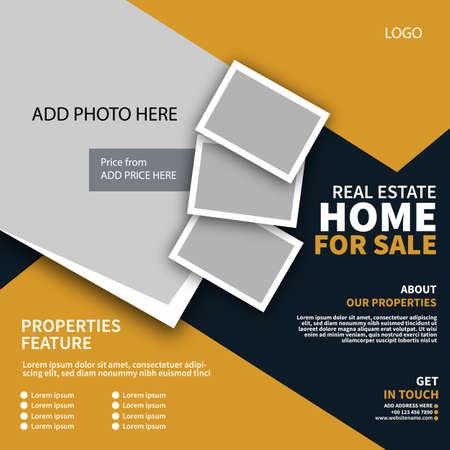 real estate, home for sale social media post flyer web banner template design Иллюстрация