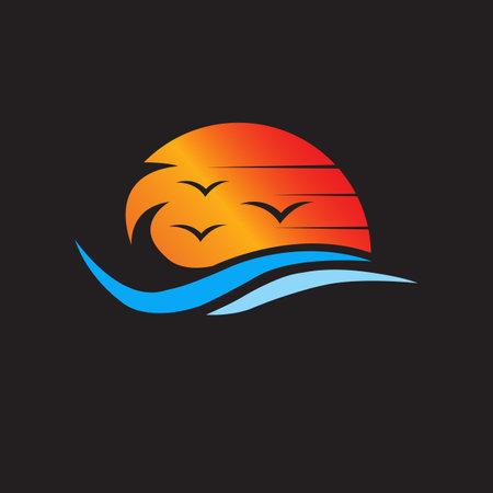 sunset beach template vector graphic design