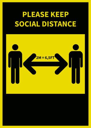 covid 19 - keep social distance poster flyer social media post template design