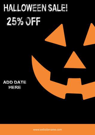 halloween sale poster flyer social media post template design Иллюстрация