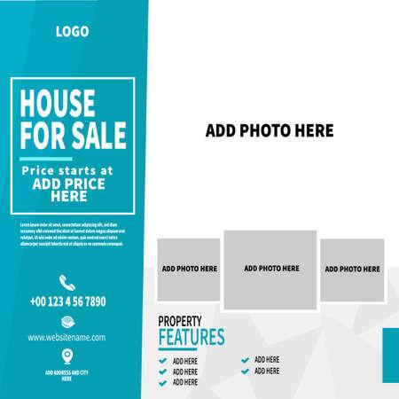 real estate, house sale web banner social media post flyer template design Иллюстрация