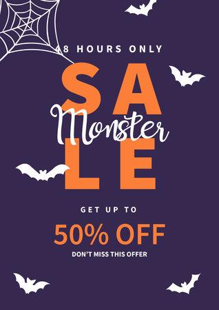 monster halloween sale poster, flyer social media post template design Иллюстрация