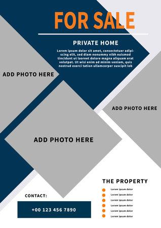 real estate, home for sale poster, flyer social media post template design Иллюстрация