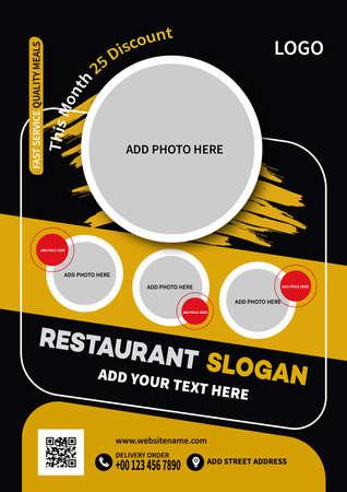 restaurant food flyer poster social media post template design Иллюстрация