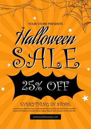halloween sale poster social media post flyer template design