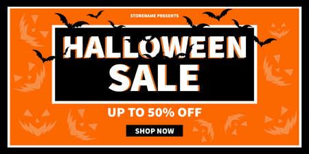 halloween discount sale web banner social media post flyer template design