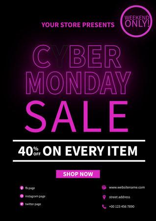 cyber monday sale flyer poster social media post template design Иллюстрация