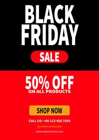 black friday discount sale flyer poster social media post template design