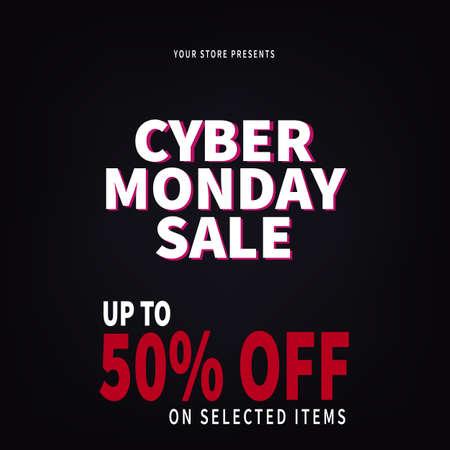 cyber monday sale web banner social media post flyer template design Иллюстрация